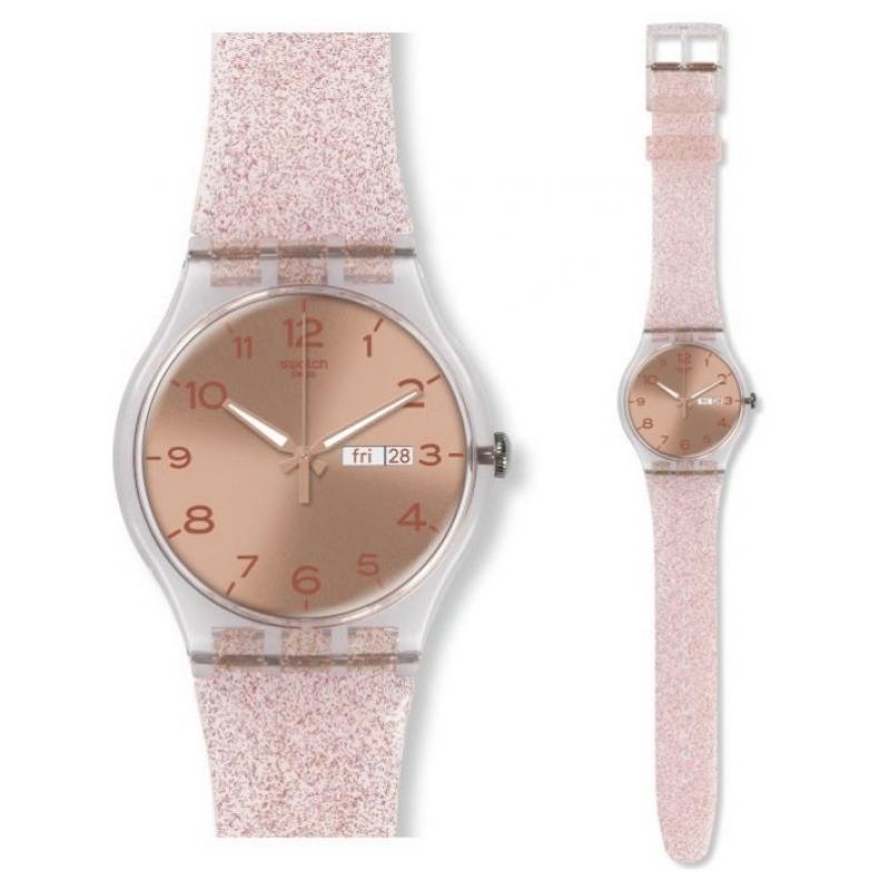 Dámské hodinky SWATCH Pink Glistar SUOK703  8bfd3ce07d5