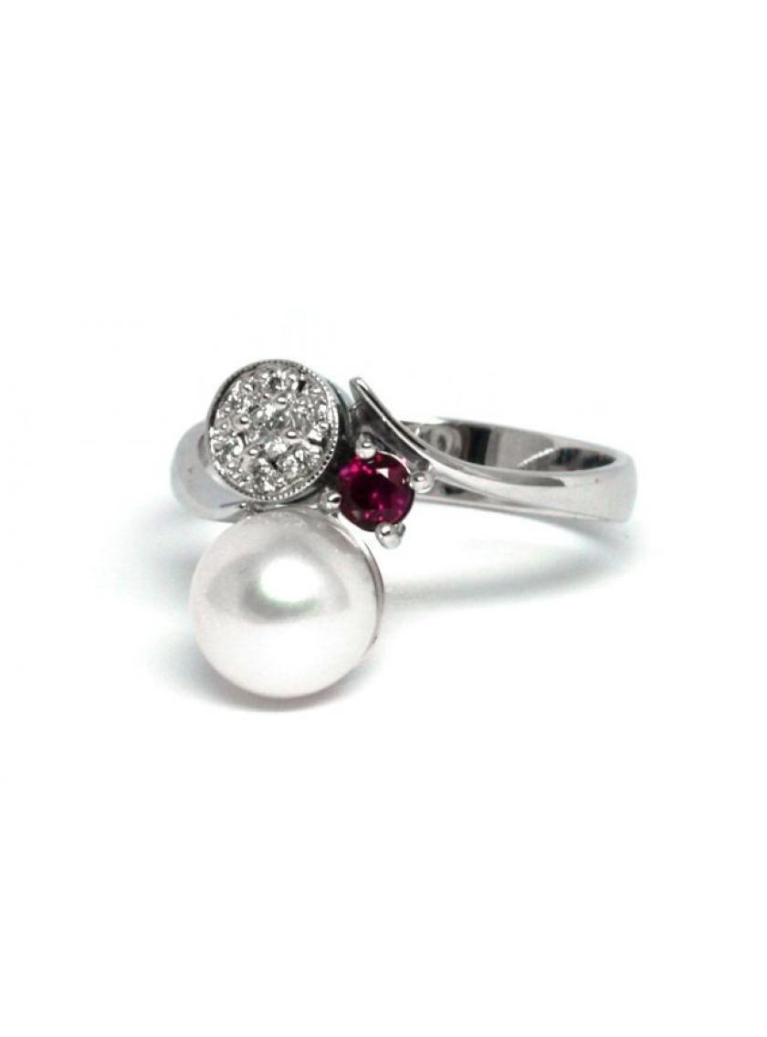 Prsten AU 585 000 kultivovaná perla+př.Korund-Rubín+př.Diamant 2 ... ec897e4f8d4